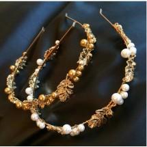 Диадема с перли в бяло или златисто F5