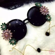 Модерни барокови очила с кристални цветя yj33