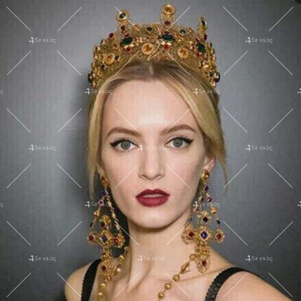 Царска корона в златисто и цветни кристали Ф12 1