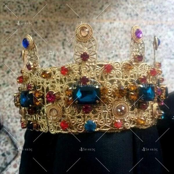 Царска корона в златисто и цветни кристали Ф12 2