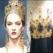 Царска корона в златисто и цветни кристали Ф12 4