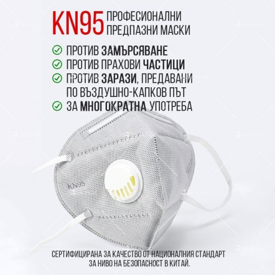 Защитна предпазна маска KN95 Респиратор за лице с активен въглен 7степенна защита