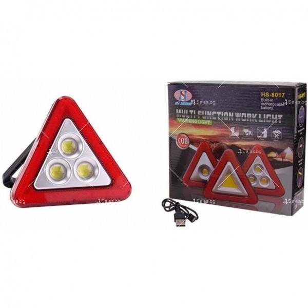 Мултифункционален соларен LED триъгълник за кола HS - 8017 1