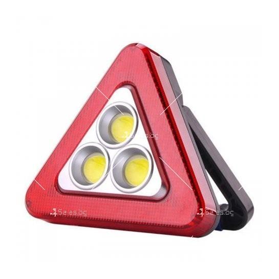 Мултифункционален соларен LED триъгълник за кола HS - 8017