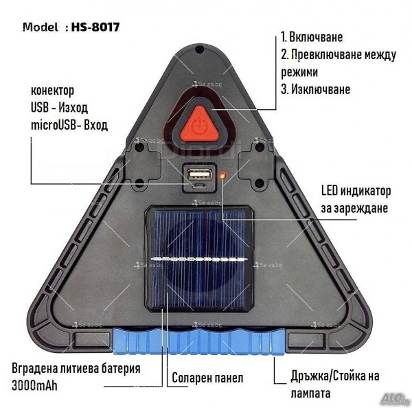 Мултифункционален соларен LED триъгълник за кола HS - 8017 4