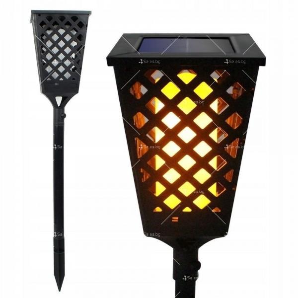 Градинска соларна лампа фенер Dancing Tiki Light с ефект на пламък H LED30 2