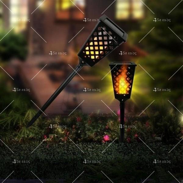 Градинска соларна лампа фенер Dancing Tiki Light с ефект на пламък H LED30 3