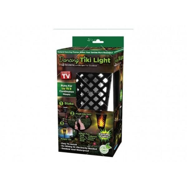 Градинска соларна лампа фенер Dancing Tiki Light с ефект на пламък H LED30 4