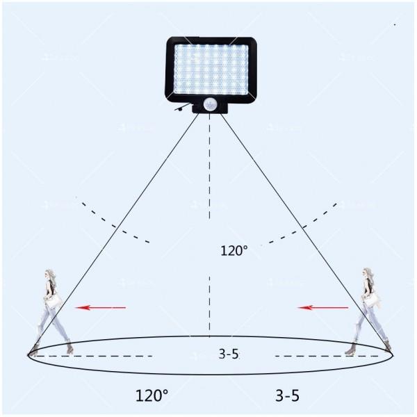 Външна лампа със соларен панел и датчик за движение - 60 диода H LED13 11