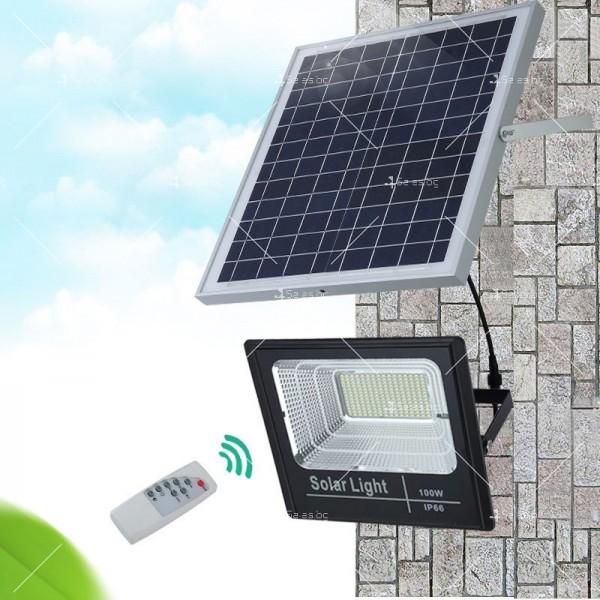Прожектор за външен монтаж със соларен панел и дистанционно H LED34 1
