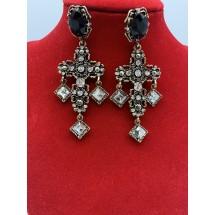 Дамски обеци масивен кръст в златист обков с кристали в стил Барок А101