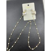 Модерни дамски обеци със синджир перлени сърца А105