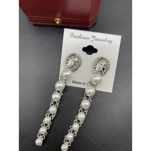 Издължени обеци синджир с перли и лик на лъв А109 3