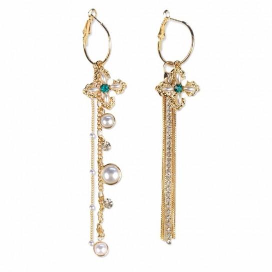 Дамски обеци големи златисти халки с висулка кръстче и синджирчета А116
