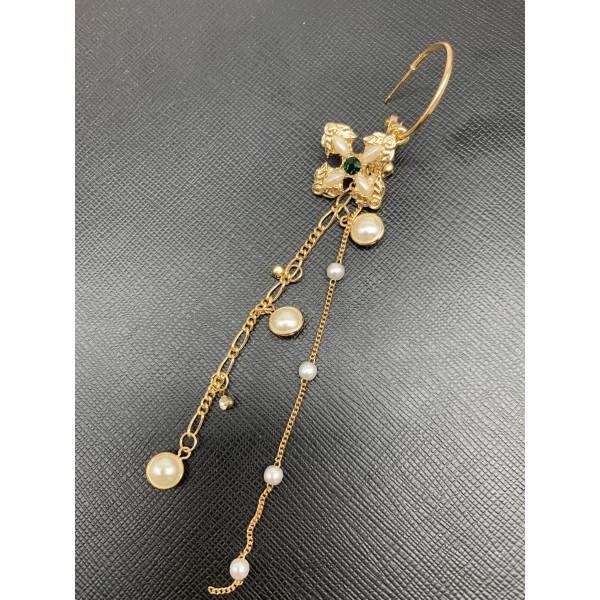 Дамски обеци големи златисти халки с висулка кръстче и синджирчета А116 6