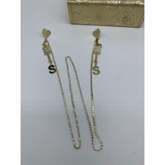 Модни дамски обеци със сърце текст и свързващ синджир в златисто А117