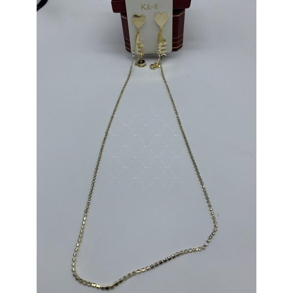 Модни дамски обеци със сърце текст и свързващ синджир в златисто А117 2