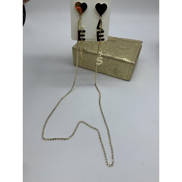 Модни дамски обеци със сърце текст и свързващ синджир в златисто А117 3