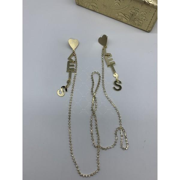 Модни дамски обеци със сърце текст и свързващ синджир в златисто А117 4