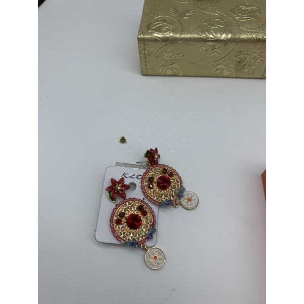Обеци в стил Барок с флорални и кристални елементи А120 6
