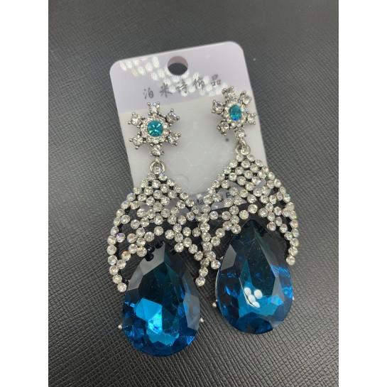 Елегантни дамски обеци с големи сини кристали А127