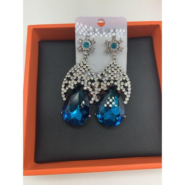 Елегантни дамски обеци с големи сини кристали А127 2