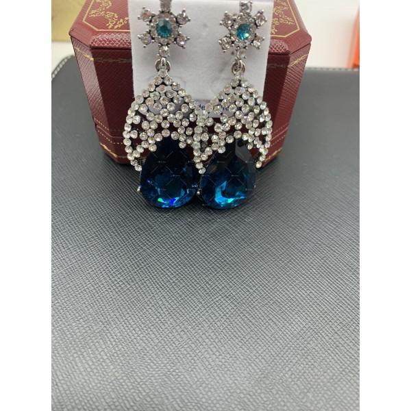 Елегантни дамски обеци с големи сини кристали А127 6