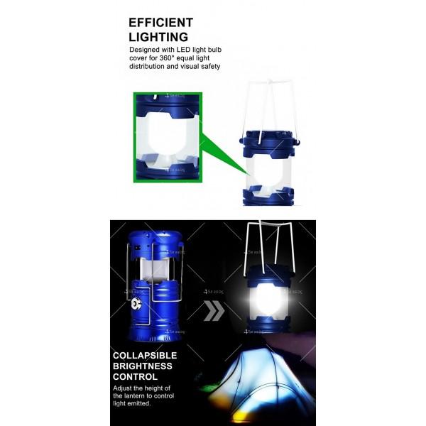 Соларен светодиоден фенер за къмпинг CAMP LAMP 8 4