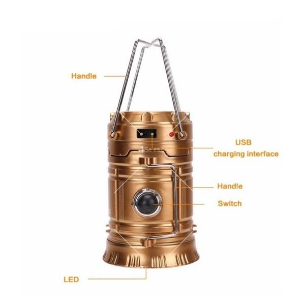 Соларен светодиоден фенер за къмпинг CAMP LAMP 8 7