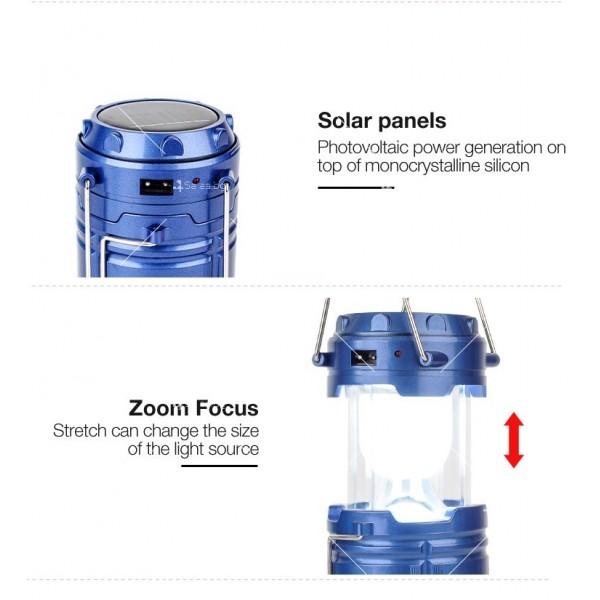 Соларен светодиоден фенер за къмпинг CAMP LAMP 8 9