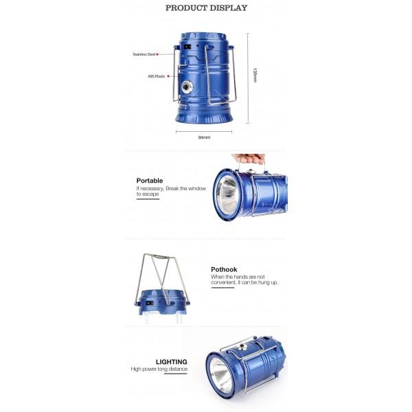 Соларен светодиоден фенер за къмпинг CAMP LAMP 8 11