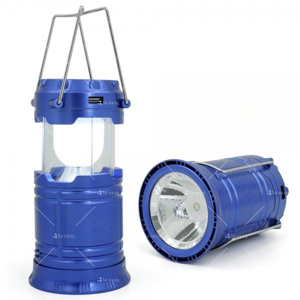 Соларен светодиоден фенер за къмпинг CAMP LAMP 8 13