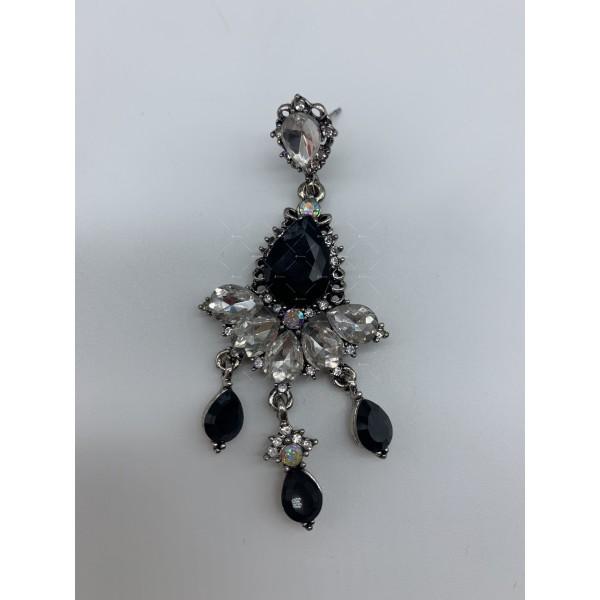 Нестандартни дамски обеци с бели, черни и перлени елементи А151 4