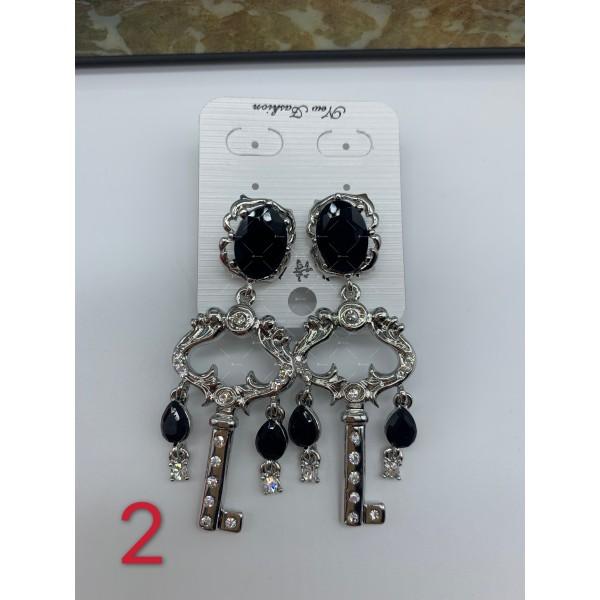 Нестандартни дамски обеци с бели, черни и перлени елементи А151 5
