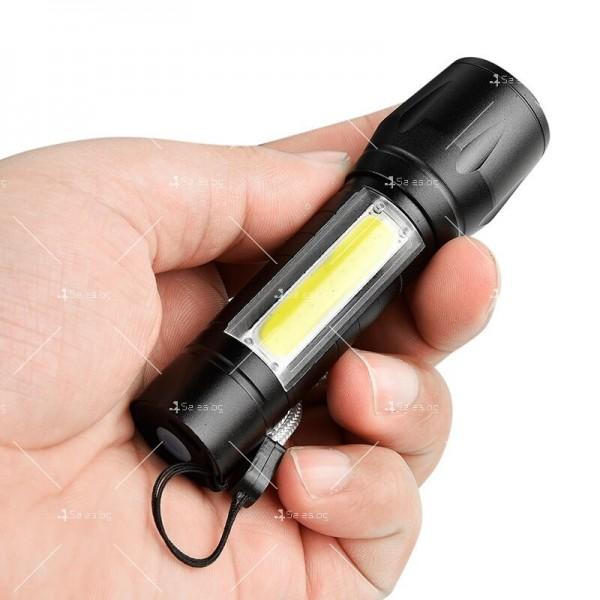 LED Джобен фенер с 3 режима, презареждаем, с USB кабел в зелена кутия FL45 2