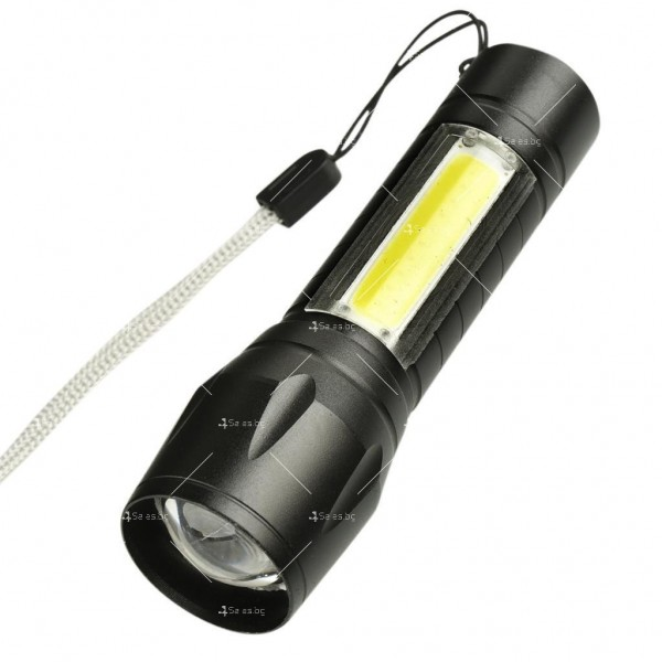 LED Джобен фенер с 3 режима, презареждаем, с USB кабел в зелена кутия FL45 3