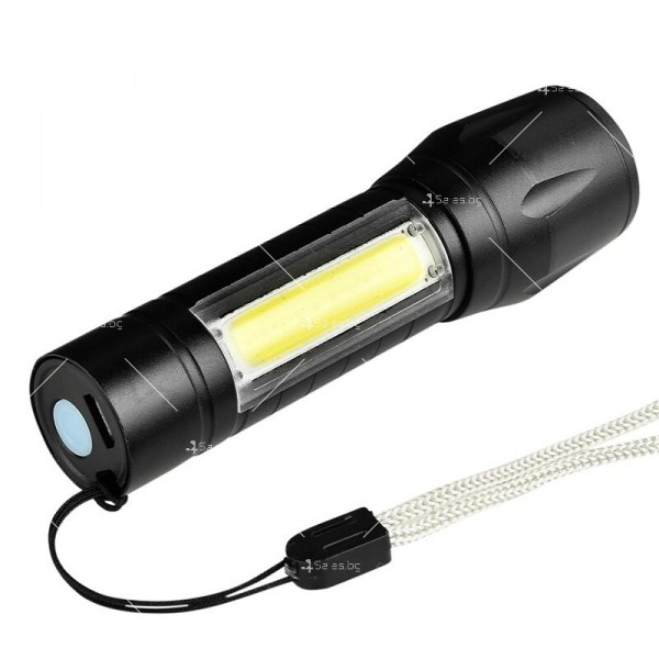 LED Джобен фенер с 3 режима, презареждаем, с USB кабел в зелена кутия FL45 4