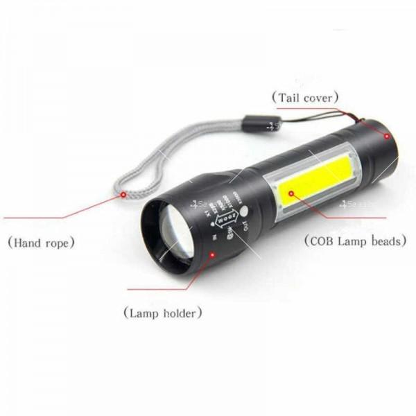 LED Джобен фенер с 3 режима, презареждаем, с USB кабел в зелена кутия FL45 7