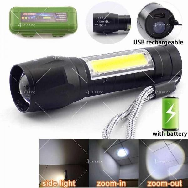 LED Джобен фенер с 3 режима, презареждаем, с USB кабел в зелена кутия FL45 10