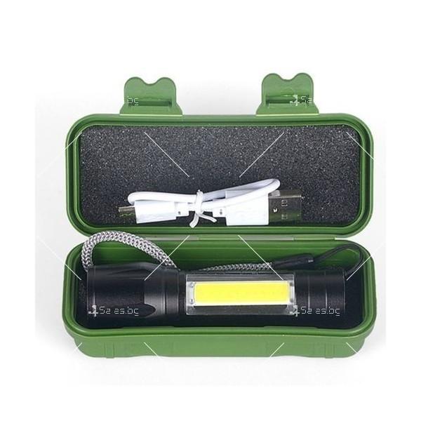 LED Джобен фенер с 3 режима, презареждаем, с USB кабел в зелена кутия FL45 11