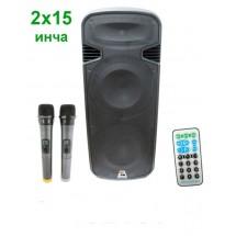 Мобилна караоке колона с 2 говорителя 15 инча + 2 безжични микрофона