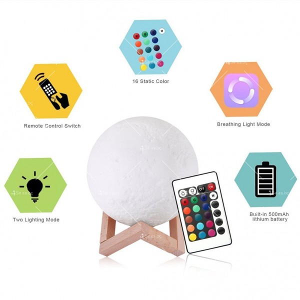 LED 3D лампа-луна с дистанционно управление TV848 11