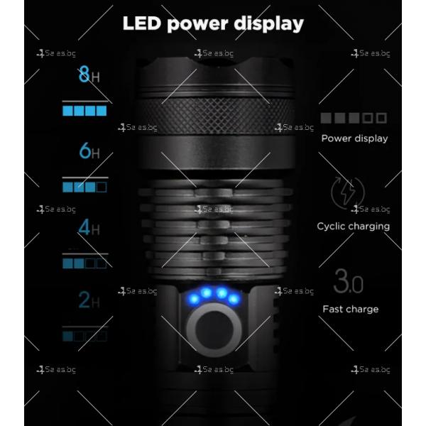 Ултрамощен LED фенер с индикация за нивото на батерията FL81 12