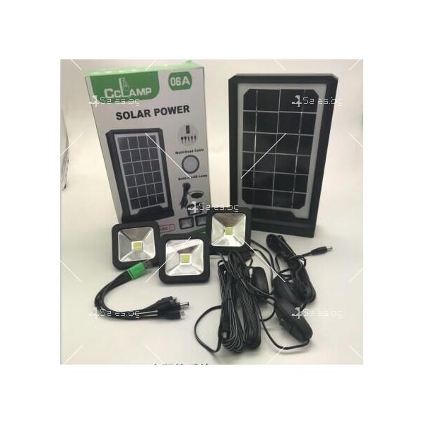 Соларна батерия Power bank с три LED крушки и мултифункционален кабел 3
