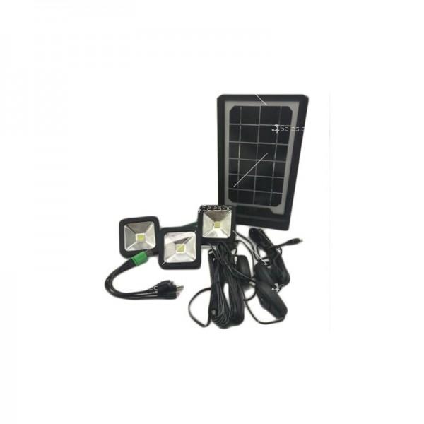 Соларна батерия Power bank с три LED крушки и мултифункционален кабел 5