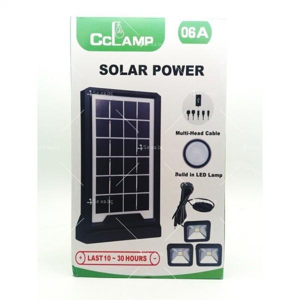 Соларна батерия Power bank с три LED крушки и мултифункционален кабел 8