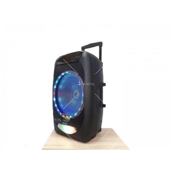 """Караоке тонколона OM&S 15"""" с акумулатор, микрофон, Bluetooth и светлини 4"""