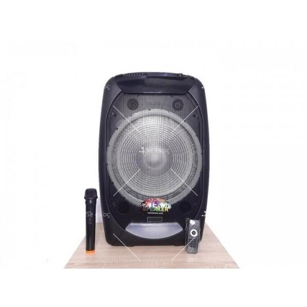 """Караоке тонколона OM&S 15"""" с акумулатор, микрофон, Bluetooth и светлини 5"""