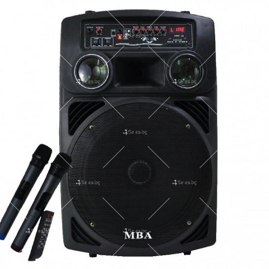 Караоке тонколона 15 инча с два безжични микрофона и диско светлини MBA F15L