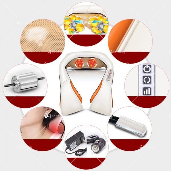 Шиацу 4D масажор за врат, гръб, плешки и рамене с функция затопляне TV95 3